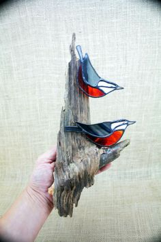 Stained Glass Red Breasted Nuthatch Wall Hanging Birds