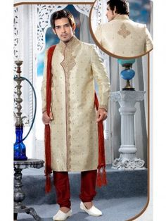 Buy Gold White Wedding Sherwani for Men