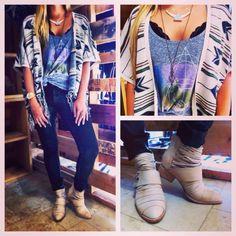 Mix it up for #fall! #socalbohochicandbeyond #billabong #fringe #kimono #jeffreycampbell #ootd #fashion #fashionista www.studio1220.com