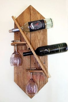 woodworking - Items similar to Wine Rack on Etsy Hanging Wine Glass Rack, Wine Rack Wall, Wood Wine Racks, Wine Barrel Furniture, Wine Bottle Holders, Diy Pallet Projects, Diy Furniture, Woodworking Projects, Facebook