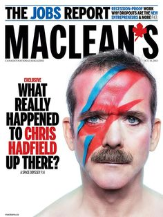Canadian astronaut hero, Colonel Chris Hadfield's David Bowie-inspired Maclean's magazine cover is so f-cking cool! Bowie Ziggy Stardust, David Bowie Ziggy, Classy People, Good People, Chris Hadfield, I Am Canadian, Mary Sue, What Really Happened, Justin Trudeau