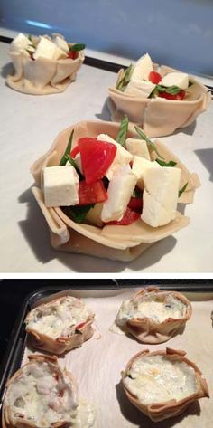 Canasitas Caprese - a delicious way to put together mozzarella, tomatoes and basil.