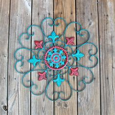 Metal Wall Decor/ Teal Blue/ Red Distressed Shabby Chic Art/ Painted Wall Furnishings/ Bright Outdoor Patio Decor/. $42.99, via Etsy.