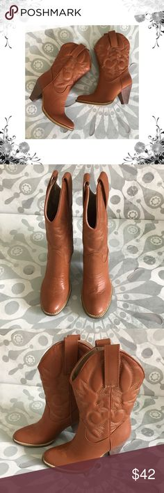"""{Spite} Saddleup Western Cowboy Boots Manufacturer Color is Tan. New with box. Heel Height is approx 3 1/2"""". Platform Height is approx 1/4"""". Shaft Height is approx 10 1/4"""". Shaft Width is approx 14"""". Pull On. Faux Leather. Bundle for discounts! Thank you for shopping my closet! Spite Shoes Heeled Boots"""