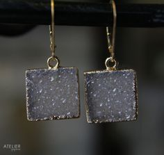Square Drusy Earrings by ATELIERGabyMarcos on Etsy, $79.00