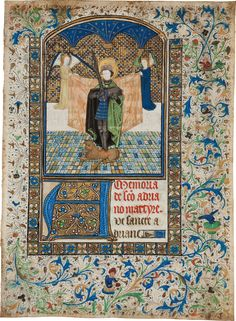 Illuminated Miniature of St. Adrian. [S. Netherlands, Bruges, n.d.]. Illuminated manuscript on vellum being a leaf from a Book of Hours. Approximately 9 x 6.5 inches.An example of horror vacui, this leaf has very little undecorated space