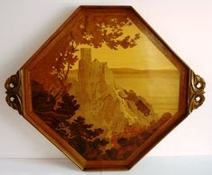Émile Gallé (1846-1904) - Landscape Tray. Carved Mahogany and Fruit Wood Marquetry Inlays. Nancy, France. Circa 1900.
