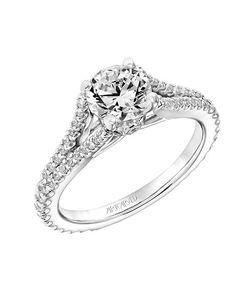 ArtCarved diamond prong set engagement ring with split diamond shank in gold with round cut I Style: 31-V747ERW-E.00 I https://www.theknot.com/fashion/31-v747erw-e00-artcarved-engagement-ring?utm_source=pinterest.com&utm_medium=social&utm_content=june2016&utm_campaign=beauty-fashion&utm_simplereach=?sr_share=pinterest