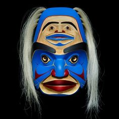 """Qomoqwa and His Captive"" Mask by Kelly Robinson, Nuxalk, Nuu-chah-nulth artist (W130510)"