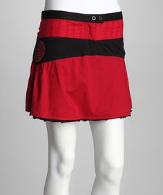 Take a look at this Red & Black Skirt - Women on zulily today!