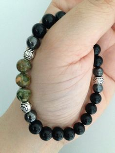 08f3b51ff03 Items similar to Men s bracelet (B137) with black onyx