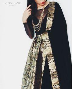 Black brocade skirt with sheer black blouse