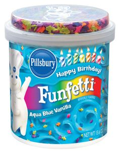 Pillsbury Funfetti Aqua Blue Vanilla Flavored Frosting: 1.5 grams trans fat per serving (2 tbsp)