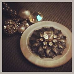 D. Wallace Designs: Vintage button, crystal and pearl necklace. Worn in 3 lengths. $64. Find D. Wallace Designs on Facebook. #jewelry #fashion #design #trendy #bling