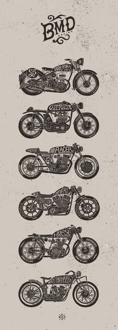 Motorcycles by bmd design-not something I would normally post but it reminds me of a friend I had in 3rd grade who also lived in my neighborhood named David who drew very detailed motorcycles all day during class.