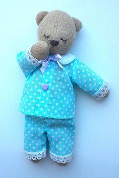 teddy bear is sleeping hand made size 9 23 cm the pajama is
