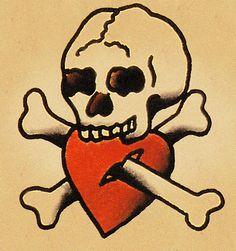 Trendy Tattoo Old School Skull Vintage Sailor Jerry 37 Ideas 4 Tattoo, Bone Tattoos, Skull Tattoos, Dragon Tattoos, Sailor Jerry Flash, Sailor Jerry Tattoos, Vintage Sailor, Flash Art, American Traditional