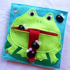 "Custom Hand-Crafted Quiet Book Page- ""Hungry Frog"" - Single Page to Expand Your Personalized Quiet Book by RoseInBloomCreations on Etsy https://www.etsy.com/listing/242549746/custom-hand-crafted-quiet-book-page"