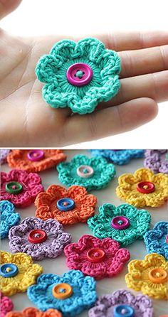 Mini Hoop Flowers – Free Pattern (Beautiful Skills – Crochet Knitting Quilting) – My CMS Crochet Flower Tutorial, Crochet Flower Patterns, Knitting Patterns, Crochet Embellishments, Crochet Buttons, Knitted Flowers, Yarn Flowers, Love Crochet, Crochet Motif