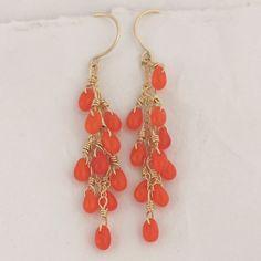 Super cute, teardrop coral dangle earrings.