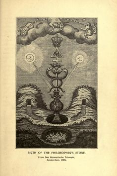 """Birth of the Philosopher's Stone    An illustration from the book """"The Follies of Science at the Court of Rudolph II, 1576-1612"""" published in 1904, written by Henry Carrington Bolton.  Not in copyright."""