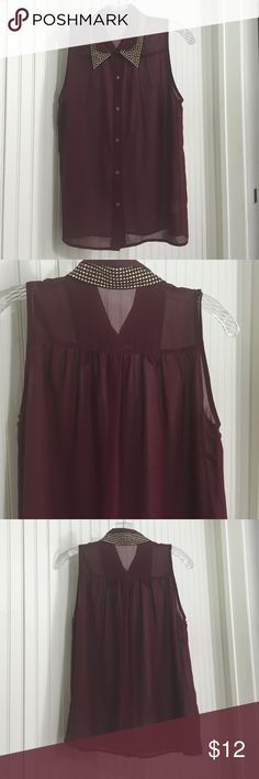 Blouse with gold studded collar Burgundy poly blouse with gold buttons and black gold studded collar. Great transitional piece. Alythea Tops Blouses