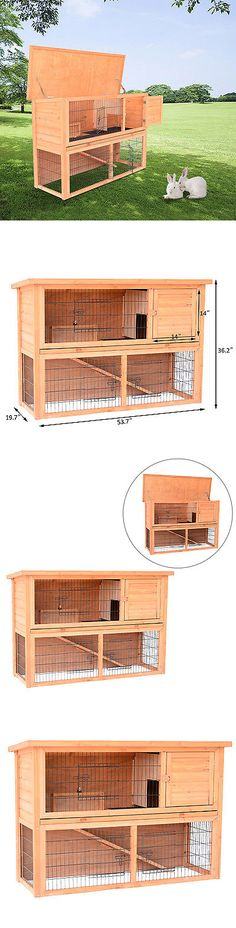 Backyard Poultry Supplies 177801: 54 Wooden Rabbit Hutch Bunny Cage Small Animal Hen Pet House 4 Door With Ramp BUY IT NOW ONLY: $119.99