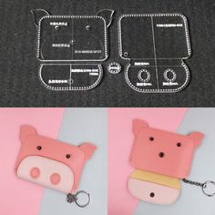 Cartoon Cute Pig Animal Coin Bag Acrylic Template Pattern Leather Craft Tool Cartoon Cute Pig Animal Coin Bag Acrylic Template Pattern Leather Craft T. Leather Diy Crafts, Leather Craft Tools, Leather Gifts, Leather Projects, Leather Bag Tutorial, Leather Wallet Pattern, Techniques Couture, Small Sewing Projects, Coin Bag