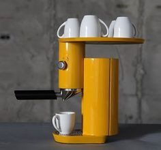 yellow Bauhaus inspired coffee machine. love.