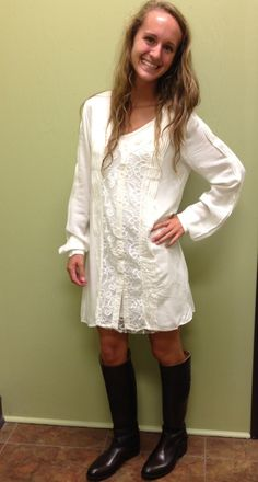 Abi wearing our new long white top and Frye boots. Now available at Emma Laura-Graceful Gold located in Ivy Place 2032B Veterans Blvd. Dublin, GA 31021 478-272-2095 www.emmalaura.com Check us out on Facebook at https://www.facebook.com/pages/GRACEFUL-GOLD-JEWELRY-CO/163839008625