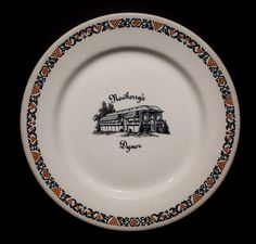 """Newberry's Dynor, Fulton County, New York 9"""" Plate  by Warwick China, 1932 Offered by Track 16. http://www.track16.com #restaurantware #restaurantchina"""