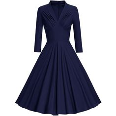 SheIn(sheinside) V Neckline Pleated Front Flare Dress ($29) ❤ liked on Polyvore featuring dresses, navy, pleated front dress, v neck dress, v neck flare dress, blue color dress and v neckline dress