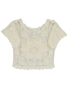 Crochet Lace Flower Crop Top
