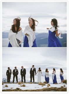 We are loving those white shawls over those cobalt blue bridesmaids dresses :: Weddings | Events | Shawls | Blankets