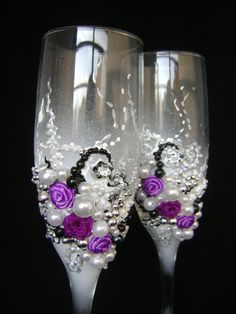 Gorgeous wedding champagne glasses, hand decorated with fabric roses and pearls, in purple, white, black and silver on Etsy, $58.00