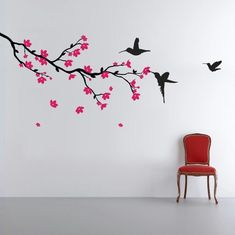 Large cherry blossom wall decal for behind the couch. Getting it in pale pink flowers, not fuscia