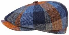 Stetson Men's Lambswool Check Hatteras Cap Blau-Orange