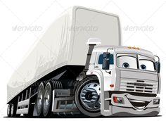 Vector Cartoon Semi Truck #GraphicRiver Vector Cartoon Semi Truck. Available…