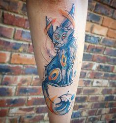 Watercolour Umbreon Pokemon tattoo by Rocio Todisco, done in Johannesburg at the Black Lodge Umbreon And Espeon, Pokemon Umbreon, Watercolour, Watercolor Tattoo, Sketchy Tattoo, Pokemon Tattoo, Tattoos, Animals, Black