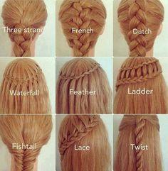 Diferentes tipos de trenzas: three strangle, french, dutch, waterfall, fishtail, lace, twist...