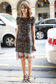 Perfection is a beaded dress // paris fashion week street style #TheSartorialBlonde