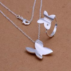 Elegant Women Jewerly Silver Plated Set Necklace Ring Smooth Butterfly Pendant