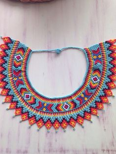 Cielo Beaded Jewelry Patterns, Beading Patterns, Indian Patterns, Native American Beadwork, Beaded Collar, Seed Bead Necklace, Beaded Ornaments, Beads And Wire, Loom Beading