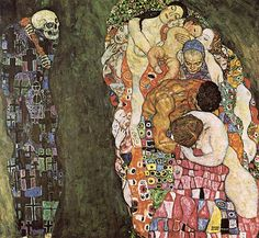 Gustav Klimt >> Death and Life (1916)  |  (Oil, artwork, reproduction, copy, painting).