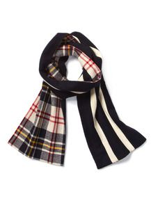 Woolrich Scarf--cool doublesided plaid and stripe!