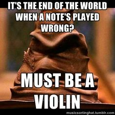 The Music Sorting Hat. Why does it have to be so true??? Im a violinist and on a wrong note it hurts ...