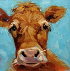6x6 inch original oil painting of a whimsical Cow by Andrea Lavery