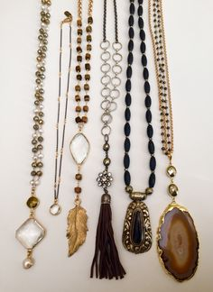 One of a kind long gemstone pendant necklaces.  Email Lisajilljewelry@gmail.com for retail or wholesale inquiries