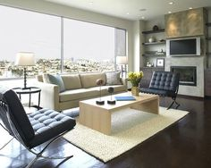 #Modern living room #design. These #Barcelona #chairs were just made for a room with a view :)
