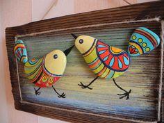 Купить Панно с птичками на деревяшке. Handmade. Комбинированный, красный, бирюзовый, птички, роспись по камню, дудлинг, необычные подарки